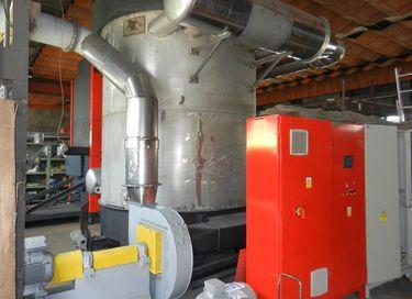 Situační pohled na výměník pro turbogenerátor ve spojení skotlem na dřevní štěpku, ATOMA Sudoměřice, řídící asilové rozváděče